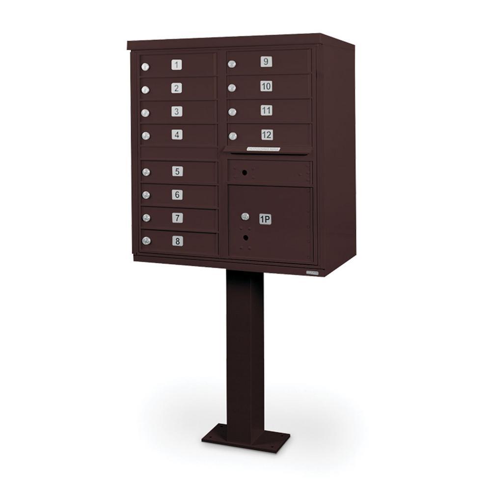 12-Compartment Mailbox CBU with Pedestal in Bronze