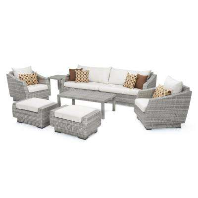 Cannes 8-Piece All-Weather Wicker Patio Sofa and Club Chair Seating Group with Sunbrella Moroccan Cream Cushions