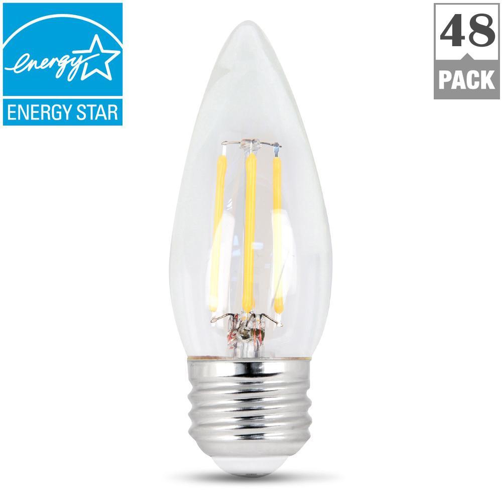 60-Watt Equivalent B10 Dimmable Filament CEC Title 20 LED ENERGY STAR 90+ CRI Clear Glass Light Bulb, Daylight (48-Pack)