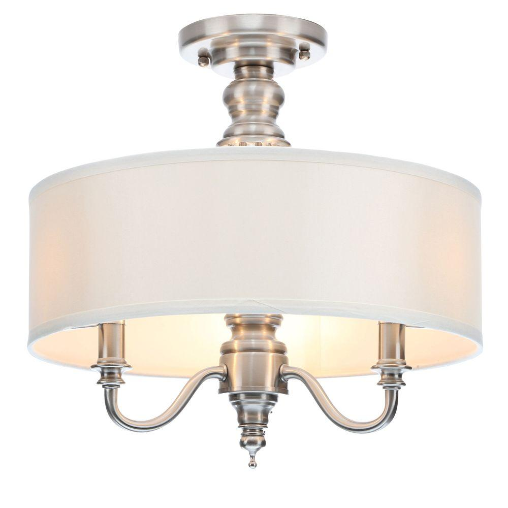 Hampton Bay Gala 15 in. 3-Light Polished Nickel Semi-Flushmount with Ivory Fabric Shade