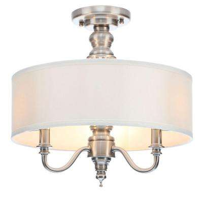 3 light polished nickel semi flushmount with ivory fabric shade