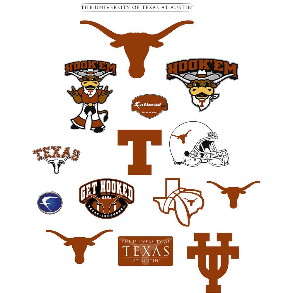 Fathead 40 in. x 27 in. Texas Longhorns Team Logo Assortment Wall Decal