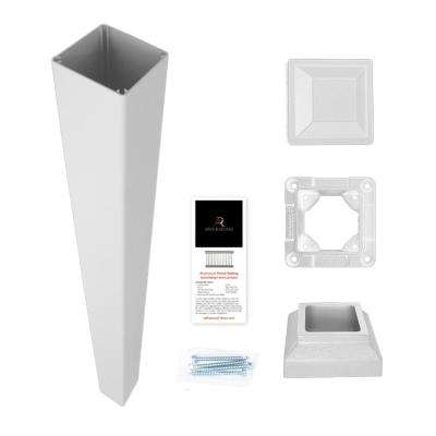 3 in. x 3 in. x 42 in. White Powder Coated Aluminum Deck Post Kit