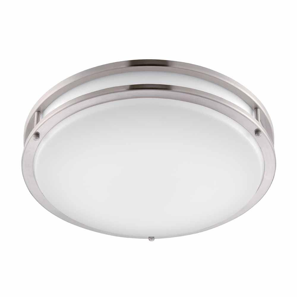 Hampton bay brushed nickel led round flushmount dc016leda the home hampton bay brushed nickel led round flushmount aloadofball