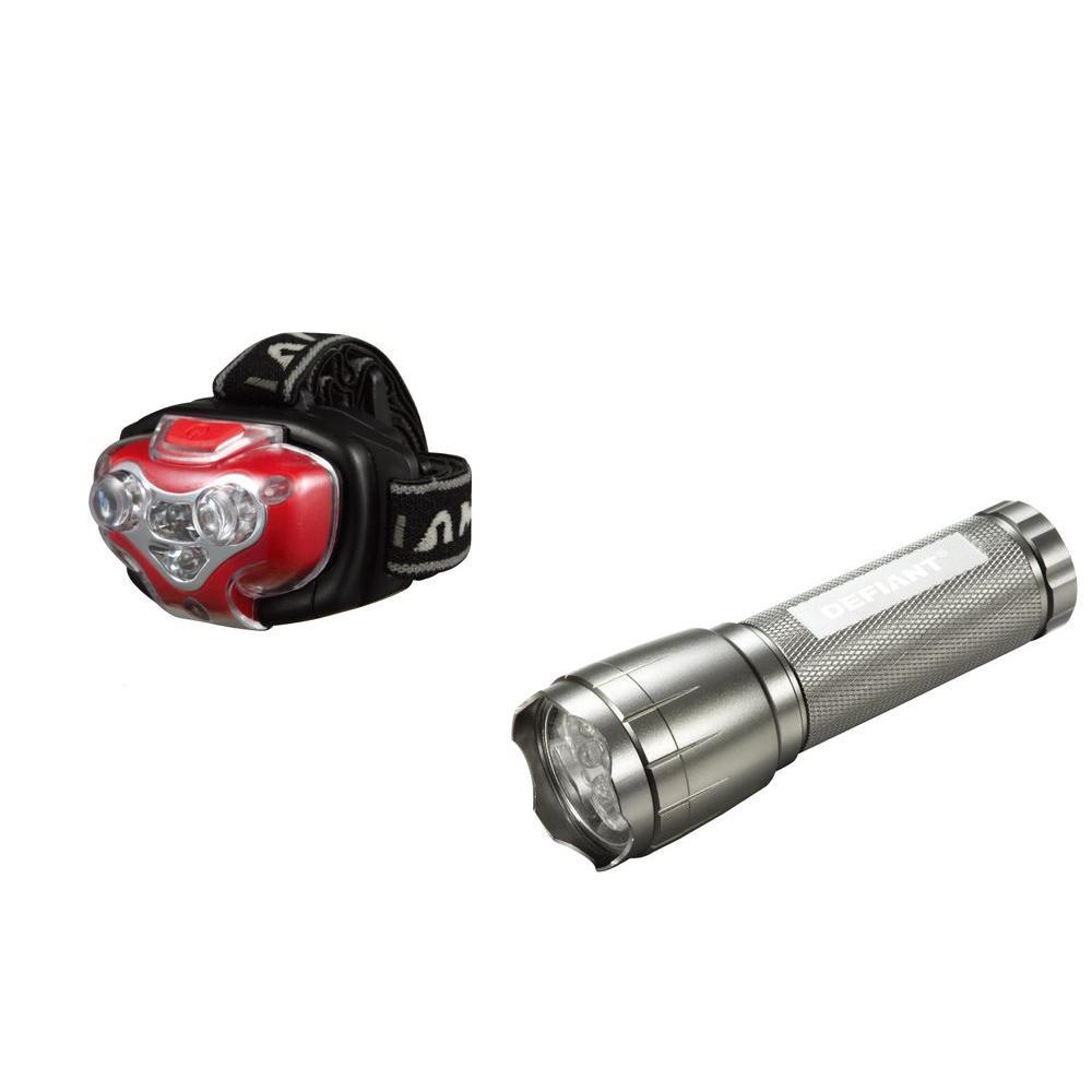 Defiant LED Flashlight and Headlamp (2-Pack)