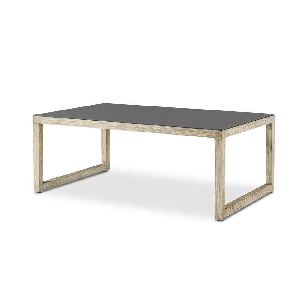 Aluminum Outdoor Patio Coffee Table In Antique White