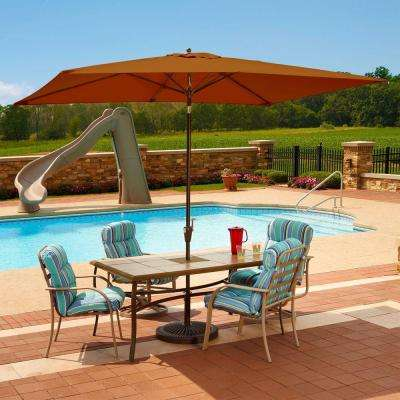 Adriatic 6.5 ft. x 10 ft. Rectangular Aluminum Market Auto-Tilt Patio Umbrella in Terra Cotta Olefin
