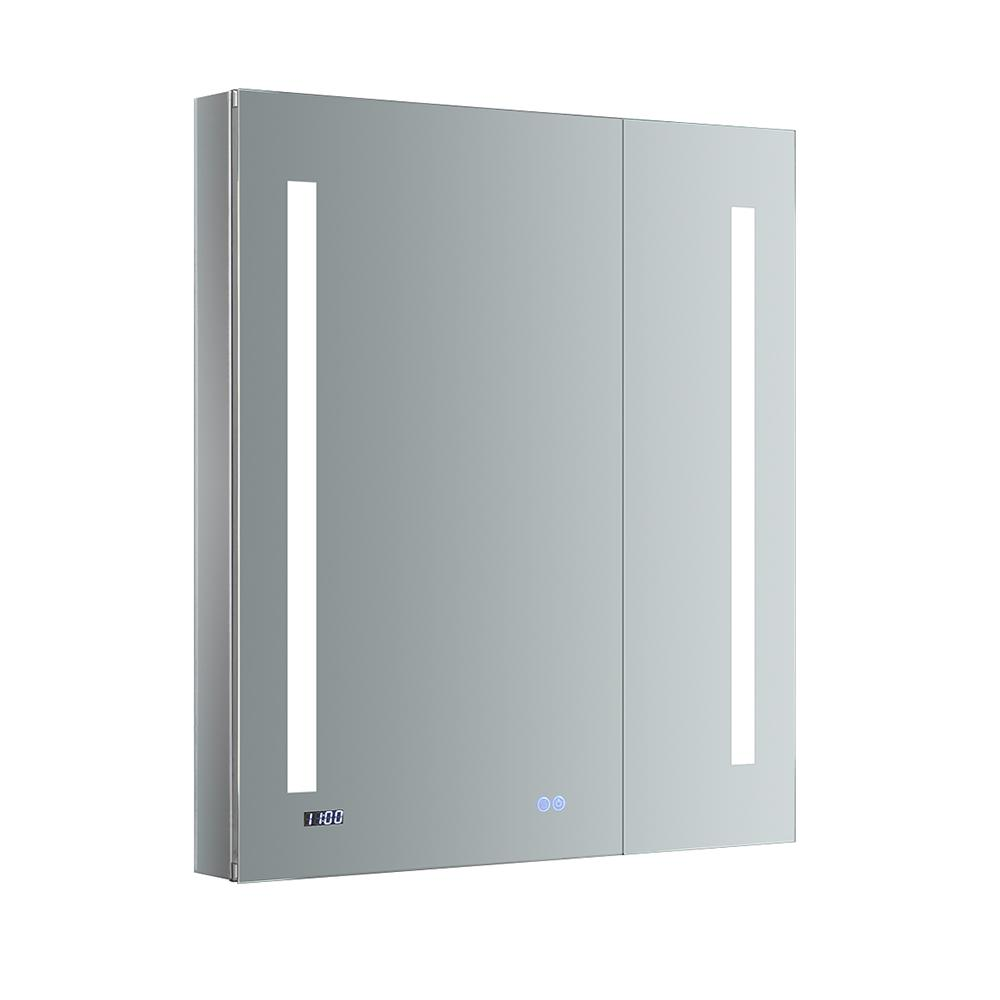 Fresca Tiempo 30 in. W x 36 in. H Recessed or Surface Mount Medicine Cabinet with LED Lighting and Mirror Defogger