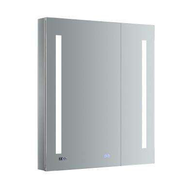 Tiempo 30 in. W x 36 in. H Recessed or Surface Mount Medicine Cabinet with LED Lighting and Mirror Defogger