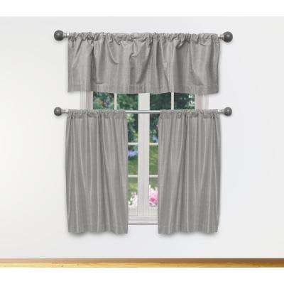 Phoebe Kitchen Valance in Grey-Silver - 15 in. W x 58 in. L (3-Piece)