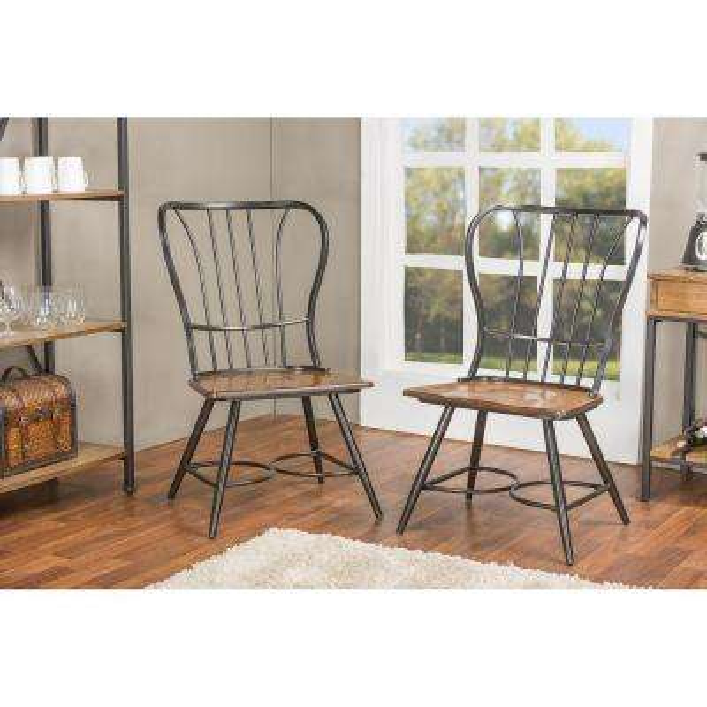 Elfrida Black Metal Dining Chairs (Set of 2)