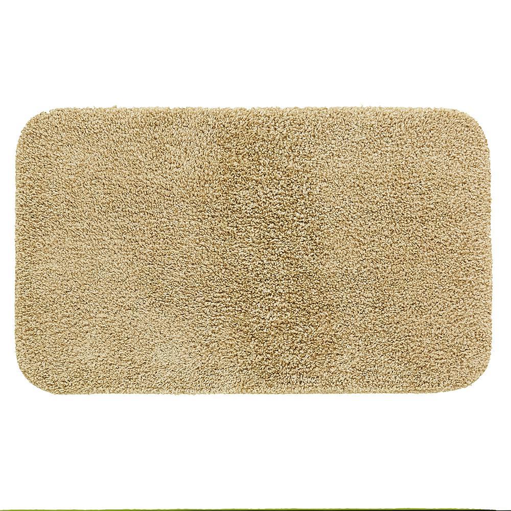 Basic Bath 19.5 in. x 32 in. Nylon Bath Mat in Tan