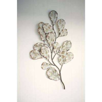 Distressed White Metal Leaf Wall Decoration
