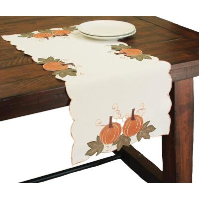 Xia Home Fashions 15 In X 54 In Pumpkin Patch Embroidered Cutwork Linens Collection Table Runner Xd149831554 The Home Depot
