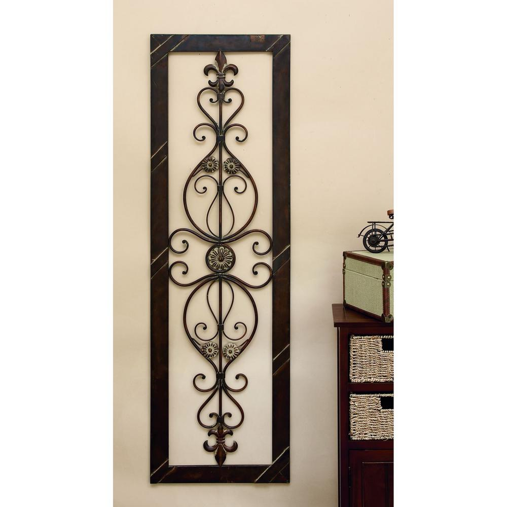 antique bronze 62 in fleur de lis wall decor 96553 the home depot. Black Bedroom Furniture Sets. Home Design Ideas