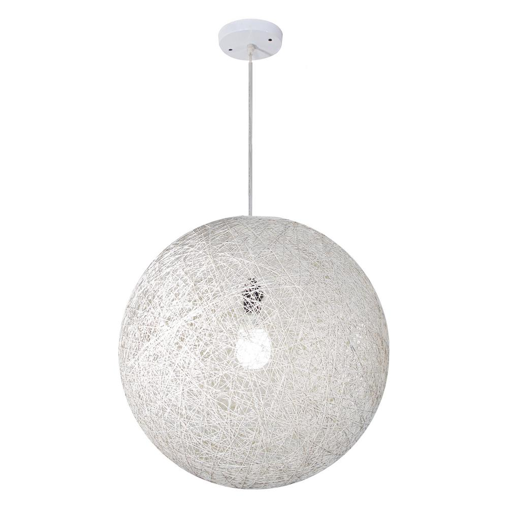 VIBE Collection 1-Light White Round Hanging Pendant