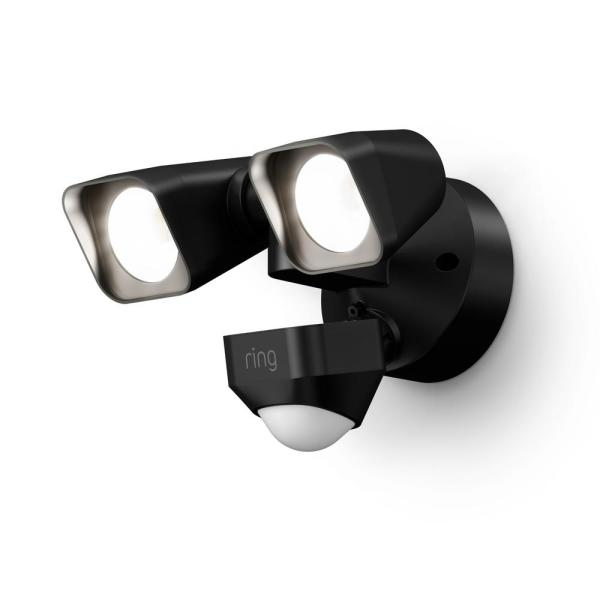 Smart Lighting Black Motion Activated Outdoor Integrated LED Floodlight Wired