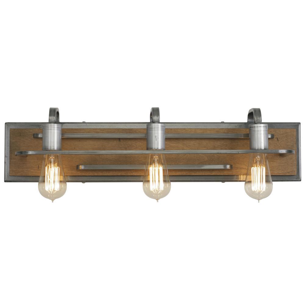 Lofty 3-Light Wheat and Steel Bath Light