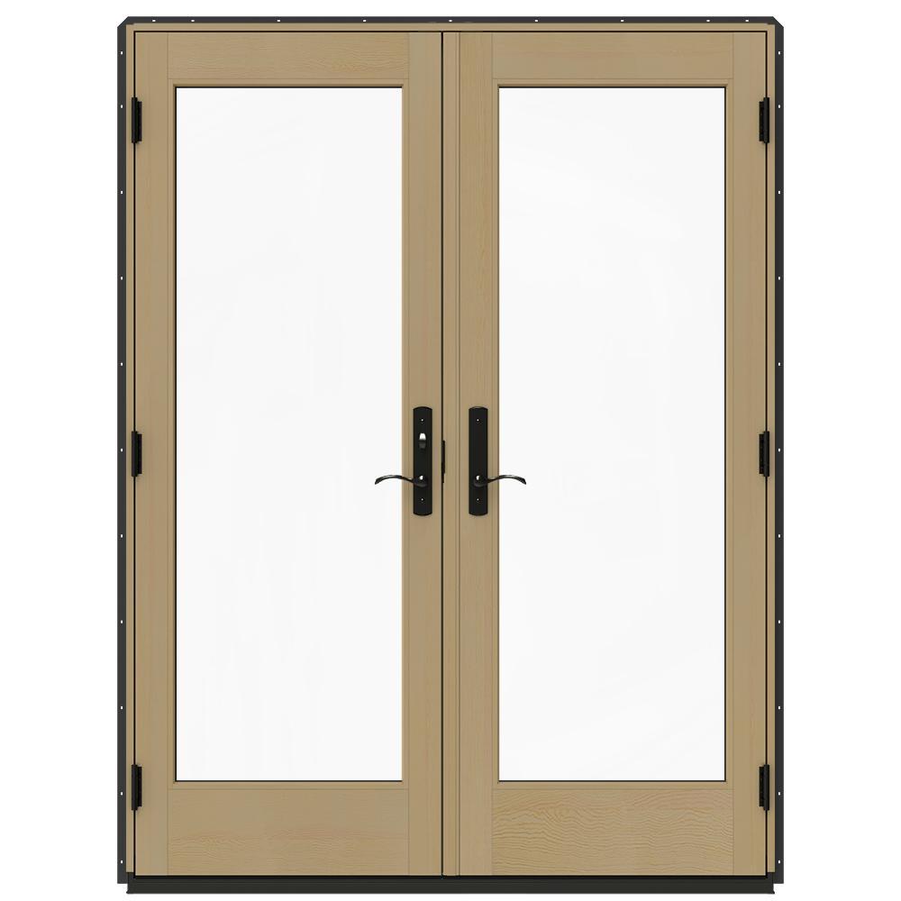 Jeld Wen 60 In X 80 In W 4500 Chestnut Bronze Prehung Right Hand Inswing French Patio Door