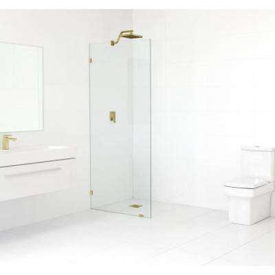 30 in. x 78 in. Frameless Fixed Shower Door in Satin Brass without Handle
