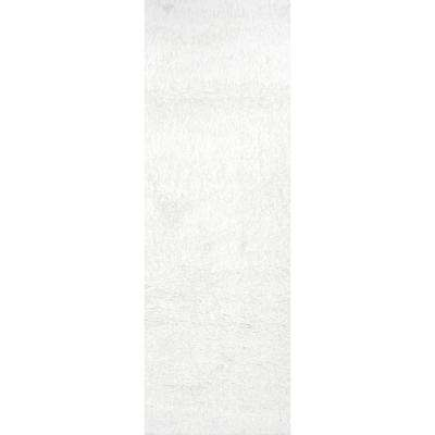 Gynel Cloudy Shag Snow White 2 ft. 8 in. x 8 ft. Runner