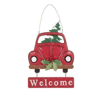 16.14 in. Wooden/Iron Truck Welcome Sign