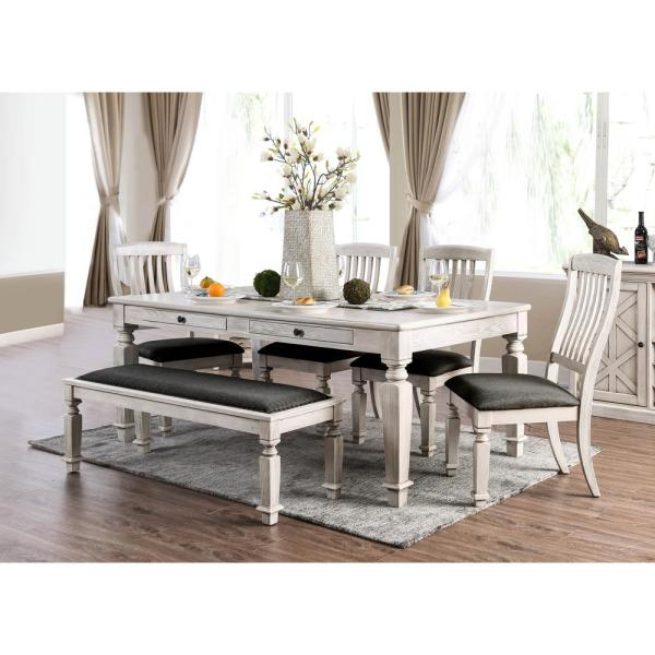 Furniture Of America Dave Antique White, Antique Farmhouse Dining Table And Chairs