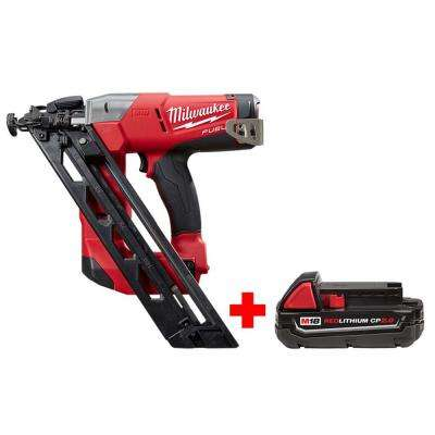 M18 FUEL 18-Volt Lithium-Ion Brushless 15-Gauge Cordless Angled Finish Nailer with Free M18 2.0 Ah Compact Battery