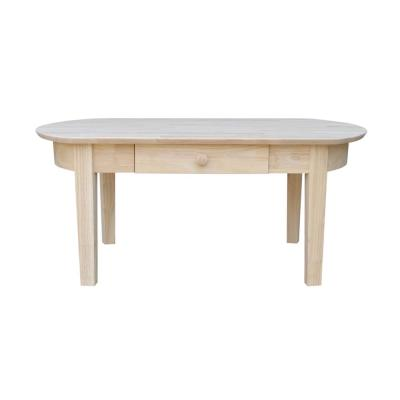 Phillips 42 in. Beige Large Oval Wood Coffee Table with Drawers