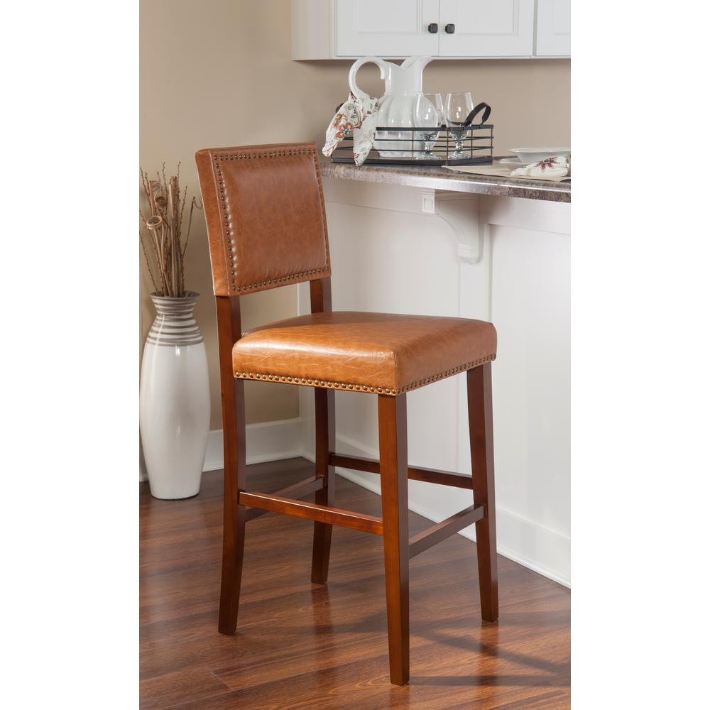 Brook 30 in. Caramel Cushioned Bar Stool