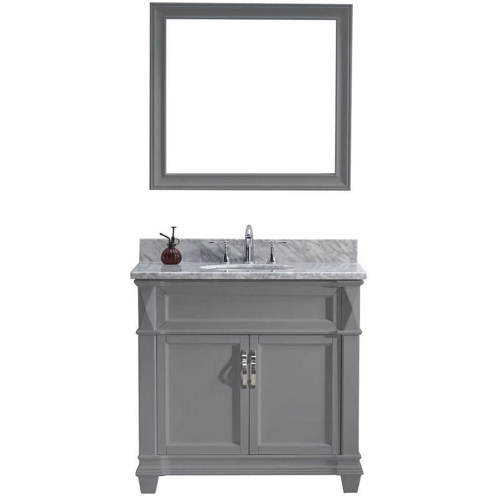 W Bath Vanity In Gray With Marble Vanity Top In