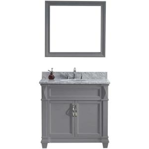 Virtu USA Victoria 36 inch W x 22 inch D Vanity in Grey with Marble Vanity Top in White with White Basin and Mirror by Virtu USA