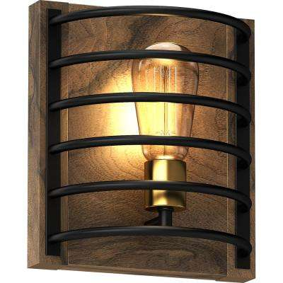 1-Light Indoor Bronze and Walnut Industrial-Inspired Caged Mini Wall Mount or Wall Sconce