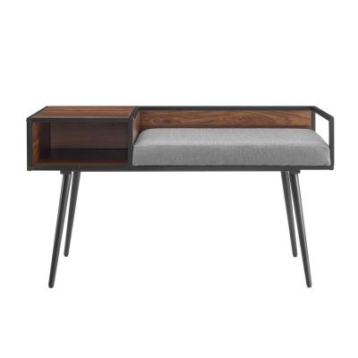 """40"""" Modern Telephone Entry Bench - Brown with Grey Cushion"""