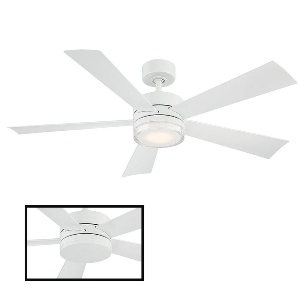 Modern Forms Wynd 52 in. LED Indoor/Outdoor Matte White 5-Blade Smart Ceiling Fan with 3000K Light Kit and Wall Control