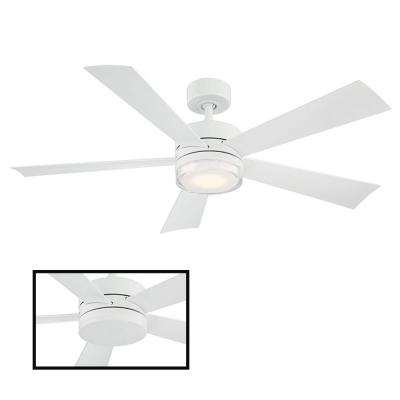 Wynd 52 in. LED Indoor/Outdoor Matte White 5-Blade Smart Ceiling Fan with 3000K Light Kit and Wall Control