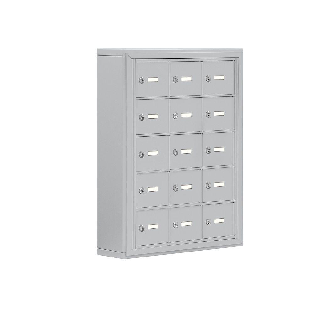 19000 Series 24 in. W x 31 in. H x 6.25 in. D 15 A Doors S-Mounted Keyed Locks Cell Phone Locker in Aluminum