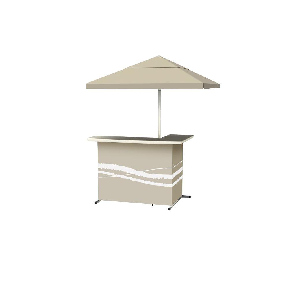 Classic Tan All-Weather L-Shaped Patio Bar with 6 ft. Umbrella