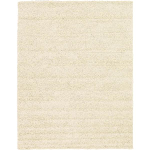 Solid Shag Pure Ivory 9 ft. x 12 ft. Area Rug