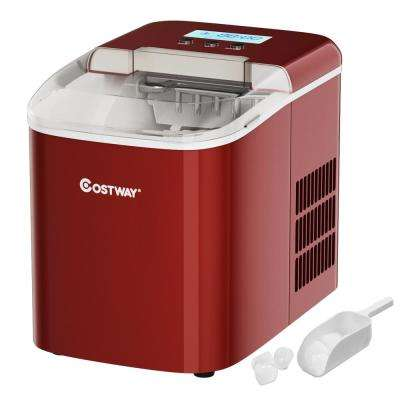 10 in. W 20 lbs. Portable Ice Maker with LCD Display and Ice Scoop in Red