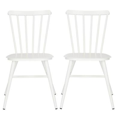 Chester Matte White Stackable Metal Outdoor Dining Chair (2-Pack)