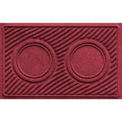 Red/Black 18 in. x 28 in. Dog Bowl Wave Pet Mat