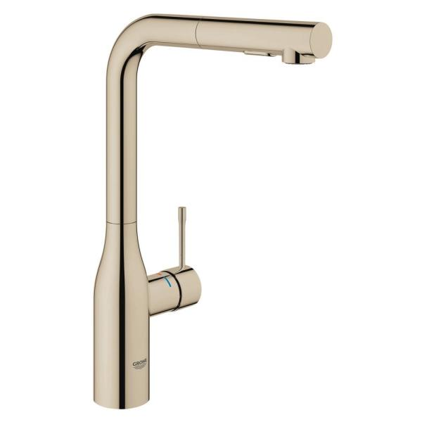 Essence Single-Handle Pull-Out Sprayer Kitchen Faucet with Dual Spray in Polished Nickel