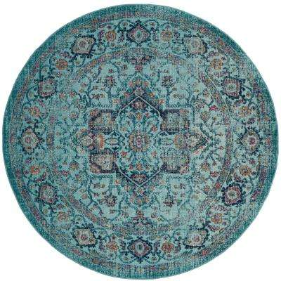 Artisan Light Blue 6 ft. 7 in. x 6 ft. 7 in. Round Area Rug