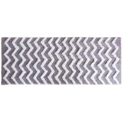 Chevron Silver 24 in. x 60 in. Bathroom Mat