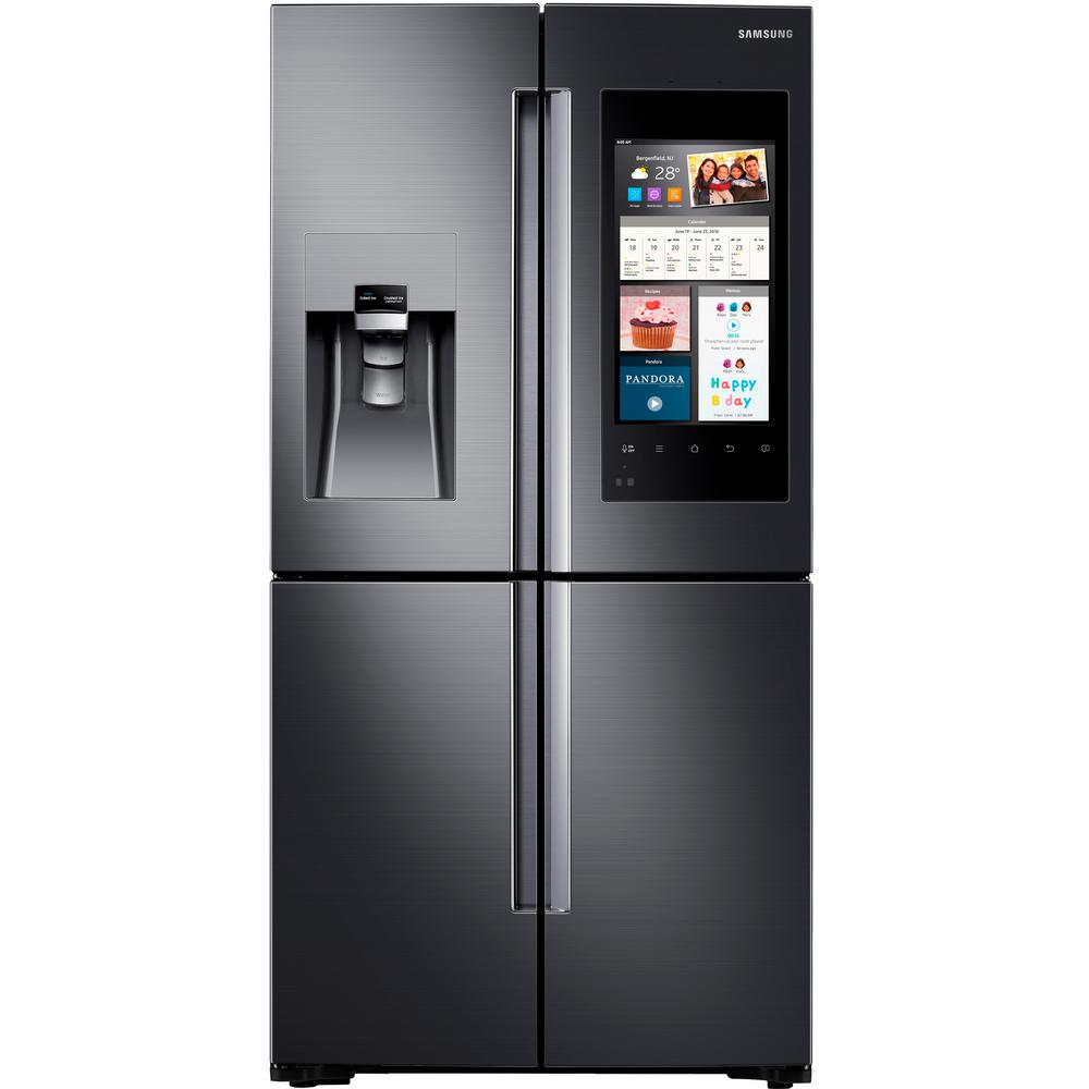 Home depot counter depth refrigerator - Family Hub 4 Door Flex French Door Smart Refrigerator In Black Stainless Steel Counter Depth Rf22m9581sg The Home Depot