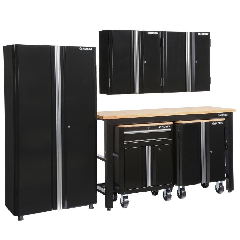 Husky 108 in. W x 98 in. H x 24 in. D Steel Garage Cabinet Set in Black (6-Piece)