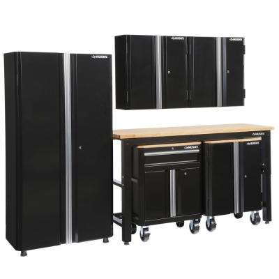 108 in. W x 98 in. H x 24 in. D Steel Garage Cabinet Set in Black (6-Piece)