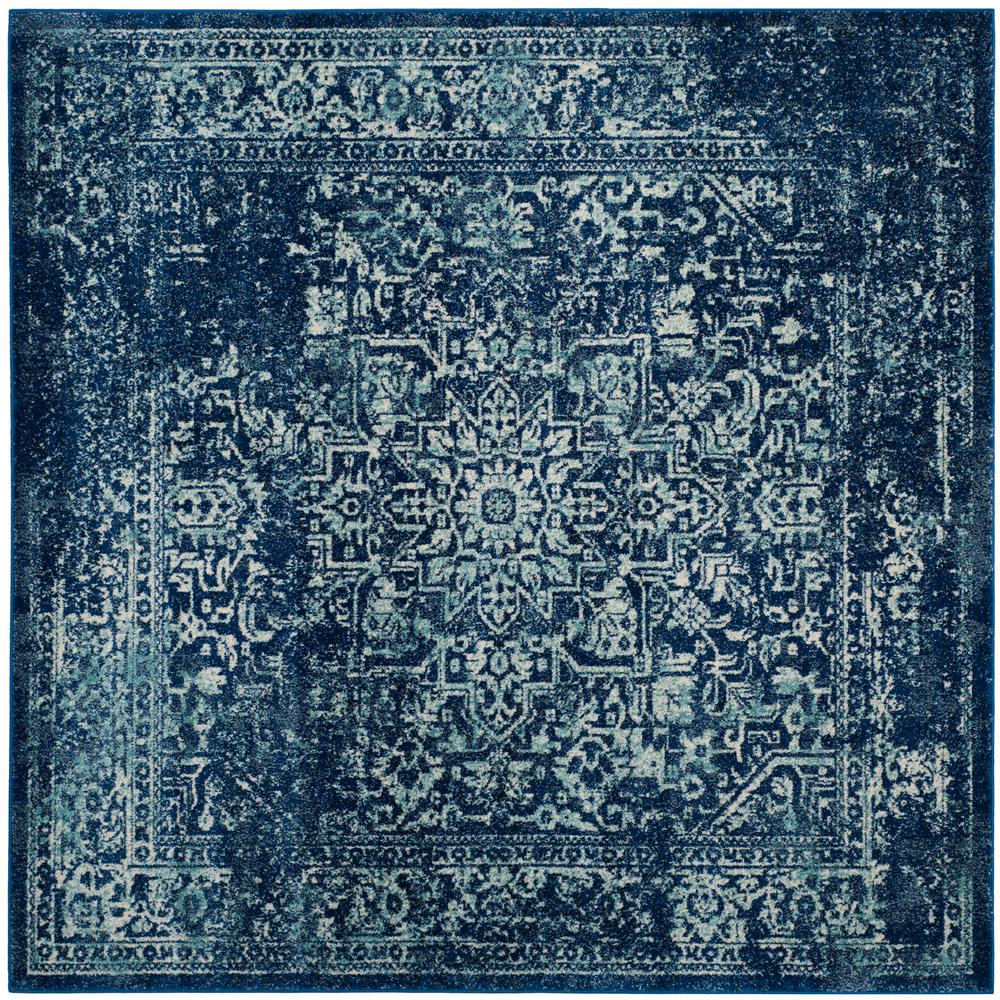 Safavieh Evoke Navy Ivory 5 Ft X 5 Ft Square Area Rug