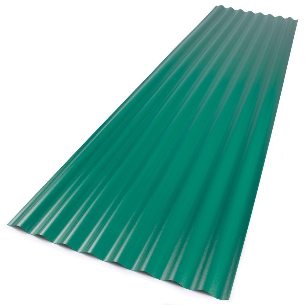 26 in. x 8 ft. Rainforest Green Foamed Polycarbonate Corrugated Roof